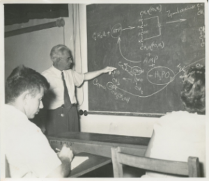A lecture on food chemistry under the direction of Prof. YBS Braverman, head of the Food Engineering Laboratory at the Technion. Photographed in July 1956 at the Technion in Hadar. The photograph is taken from the Yehoshua Nassyahu Historical Archives of the Technion.